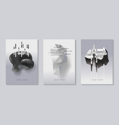 Posters covers with glitch effect and bauhaus vector