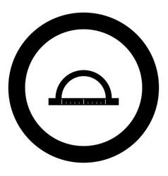 protractor black icon in circle vector image