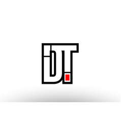 Red and black alphabet letter dt d t logo vector