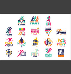 run sport club logo templates set emblems vector image