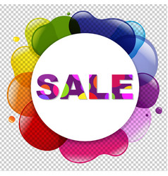 sale poster with dialog balloon and color blobs vector image