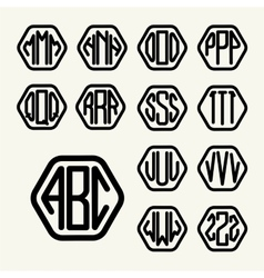 Set 2 template create monogram three letters vector image