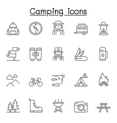 set camping related line icons contains such vector image