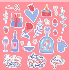 set flat doodles for valentine s day vector image
