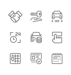 set line icons of car rent vector image