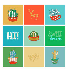 set of cactus icons with hand-written lettering vector image
