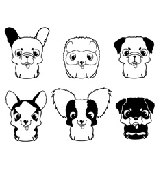Set of cartoon puppies Black and white vector