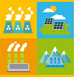 Set of icons representing ecology environment vector