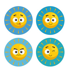 set of summer sun faces cartoon vector image