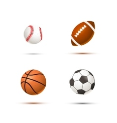 set realistic sport balls for soccer vector image