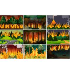 set wild fire background vector image