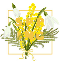 Spring floral background with beautiful snowdrop vector