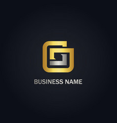 square line g initial gold logo vector image