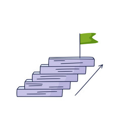 Steps up to flag doodle drawn hand vector