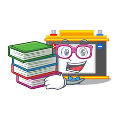 Student with book miniature accomulator in the a vector