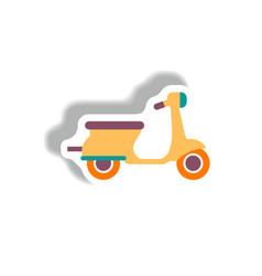 Stylish icon in paper sticker style retro scooter vector