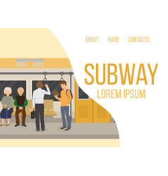 Subway inside with people old couple and man vector
