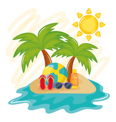 summer holiday poster with island and icons vector image