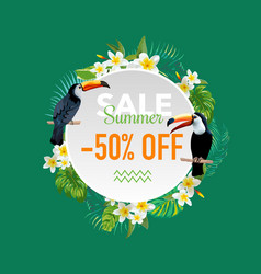 summer sale tropical flowers and birds banner vector image