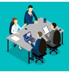 Teamwork Isometric Concept vector