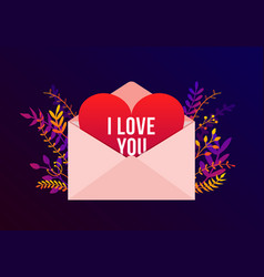 trendy happy valentines day with i love you vector image