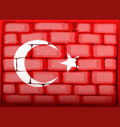 Turkey flag on brickwall vector