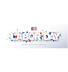 Usa happy labor day advertising banner text design vector
