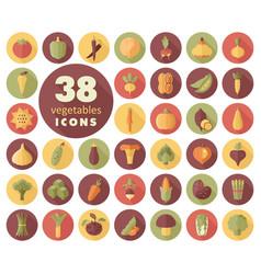 Vegetables flat icons set vector