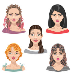 Woman faces avatar set vector