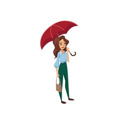 beautiful girl with red umbrella rainy weather vector image