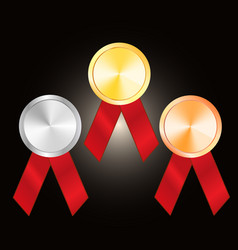 bronze medal silver medal and golden medal vector image