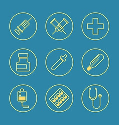Medical Flat design thin line icons set vector image vector image