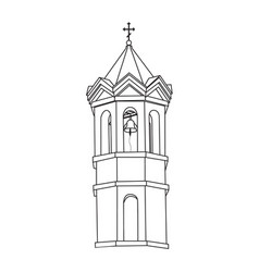 monochrome image of a church bell tower vector image