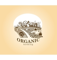 Organic farming design element vector image vector image