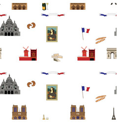 paris seamless pattern hand-drawn landmarks vector image