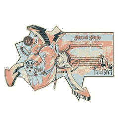 vintage urban label with pitbull vector image vector image