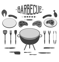 bbq barbecue and grill design elements equipment vector image vector image