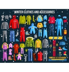 Big collection of cozy winter clothes and winter vector image vector image