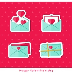 Flat cons Happy Valentine day vector image vector image