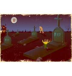 Halloween Night in Graveyard vector image vector image