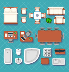 Top view interior flat icons vector image vector image