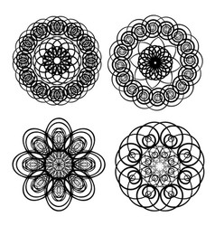 circle lace patterns design elements in black vector image vector image