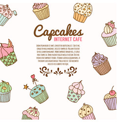 cupcake bakery background vector image