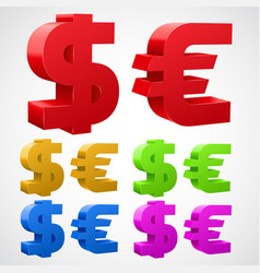 dollar euro signs isolated on white vector image