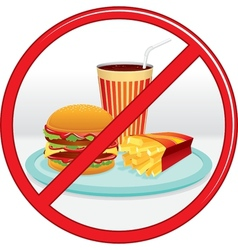 No Fast Food Prohibition Sign Label vector image
