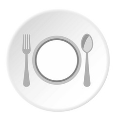 Plate spoon and fork icon circle vector