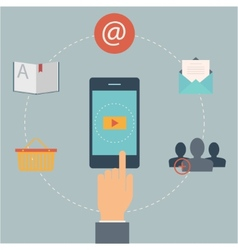 Set of flat design web icons for mobile phone vector image vector image