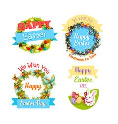 easter eggs and rabbit cartoon symbol set design vector image vector image