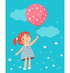 Little girl holding balloon vector image vector image