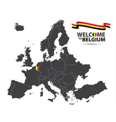 map of europe with the state of belgium vector image vector image